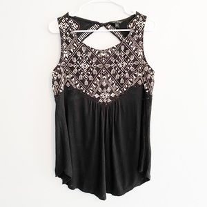 LUCKY BRAND / black embroidered tank top